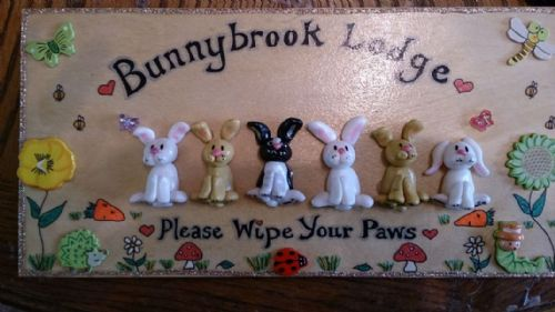 6 character Large 3d Bunny Rabbit Sign Any Phrasing Personalised & Customised Plaque Handmade To Order Unique OOAK